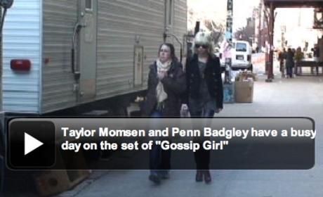 Taylor Momsen and Penn Badgley on Set