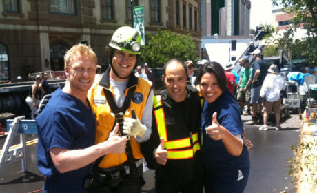 Grey's Anatomy Set Photo: Sinkhole Smiles