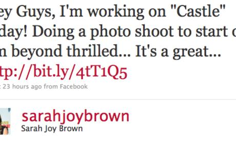 Sarah Brown to Guest Star on Castle