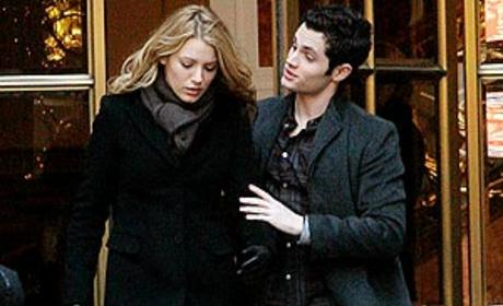 Blake Lively and Penn Badgley Film a Scene