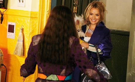 Amanda and Her Dog Arrive