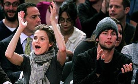 Chace Crawford, Keri Russell at Knicks Game
