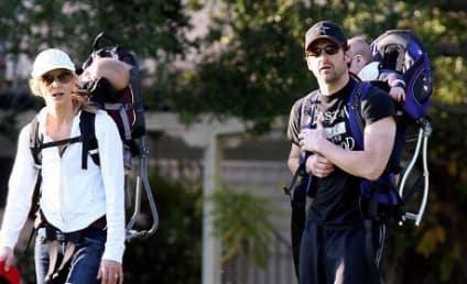 Patrick & Jillian Dempsey Take the Twins For a Walk