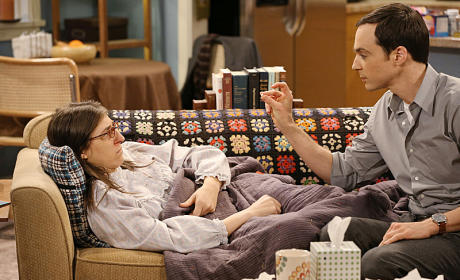 Sheldon Cares for Amy When She's Sick