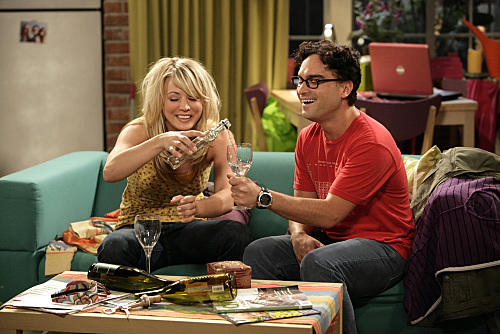 Leonard and Penny Drink