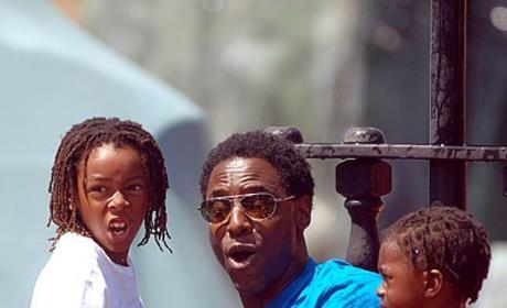 Isaiah Splashes Around With the Kids