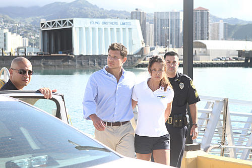 Vanessa Minnillo and Nick Lachey on Hawaii Five-O