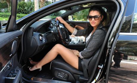 Jessica Szohr Has a Miami Jaguar Driving Experience