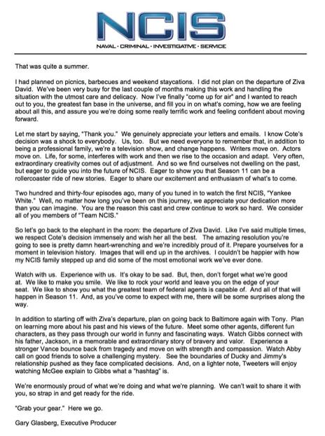 NCIS Open Letter