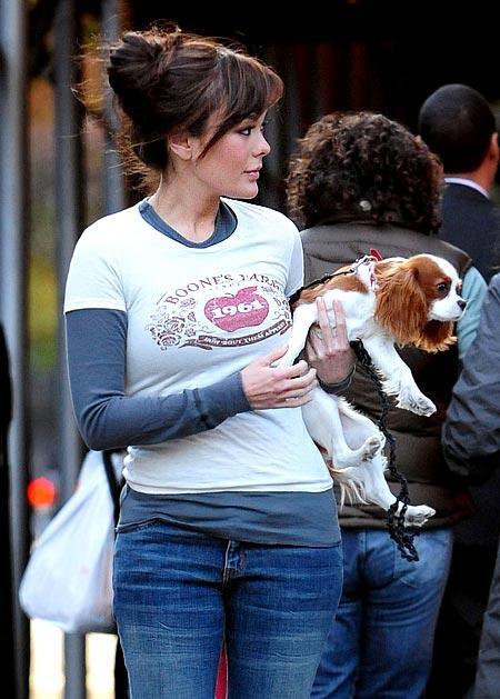 Lindsay Price Walking Her Dog