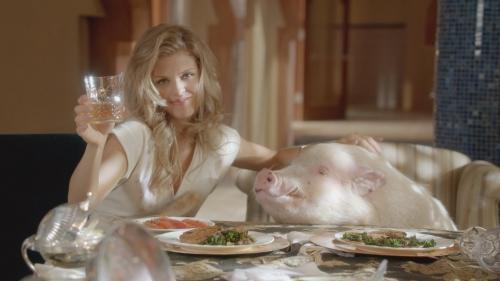 Naomi and a Pig