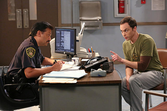 Sheldon Talks to a Police Officer