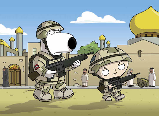 Brian and Stewie in the Army