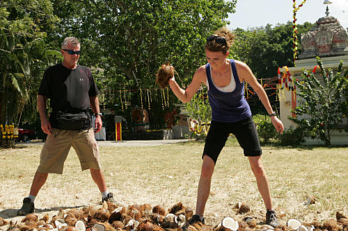 Allie Smashes Coconuts