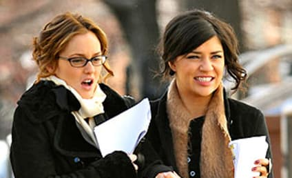 Leighton Meester and Jessica Szohr Brave the Elements