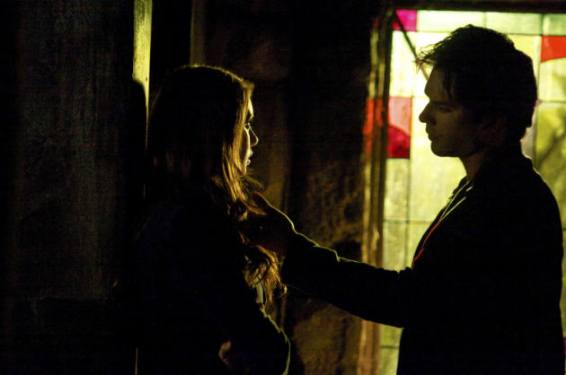 Damon and Elena, in the Shadows
