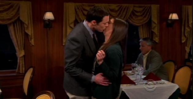 Sheldon and Amy Kiss