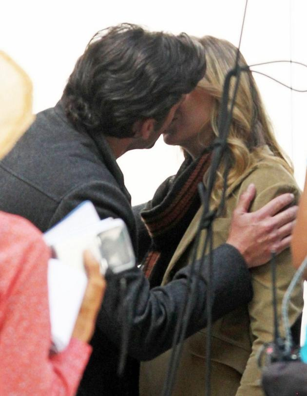 Ellen and Patrick Kiss on Set