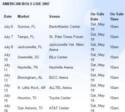American Idol Tour Dates