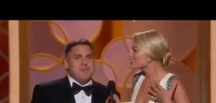 Jonah Hill and Margot Robbie Try to Present at Golden Globes