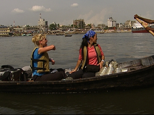 Nat and Kat Direct Their Boat