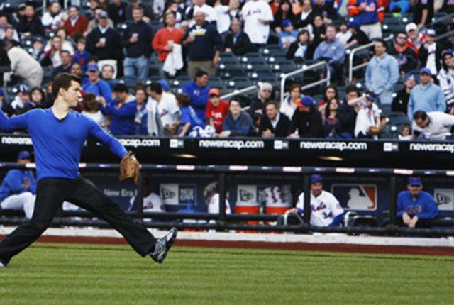 Daniel throws a pitch