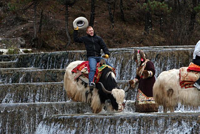 Cord rides a yak