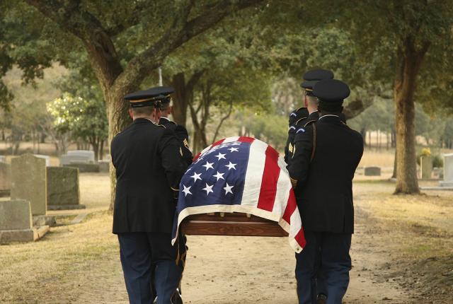 Flag-draped-casket