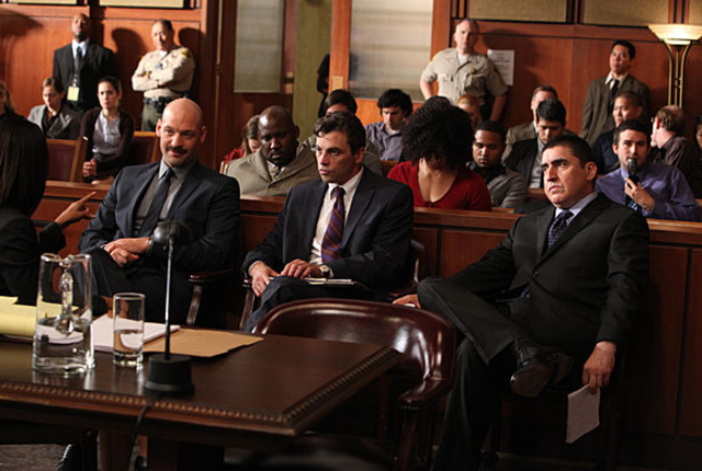 Law and order courtroom scene
