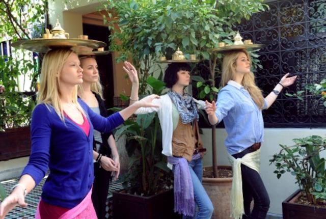 Tea tray balancing dance