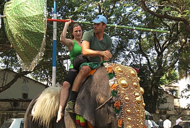 Rachel and brendan on an elephant