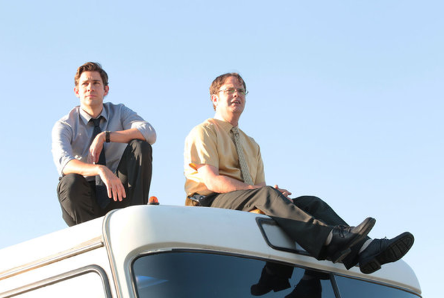 Jim and dwight on the bus