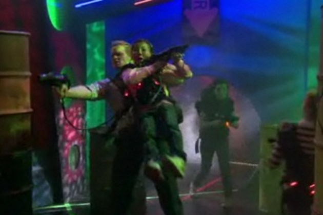 Barney-plays-laser-tag