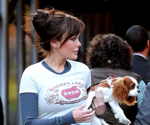 "Lindsay Price ""Walking"" Her Dog"