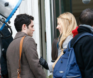 Blake Lively and Penn Badgley on the Set