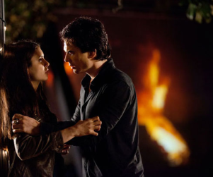 First Look: Damon and Elena in Fiery Vampire Diaries Finale