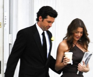 Isaiah Washington, Patrick Dempsey, Katherine Heigl, Ellen Pompeo On Set