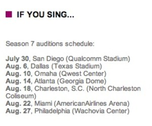 American Idol 7 Auditions Lined Up