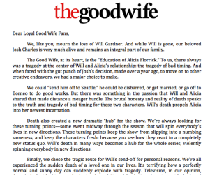 The Good Wife Creators Post Letter to Fans, Explain Bombshell Twist