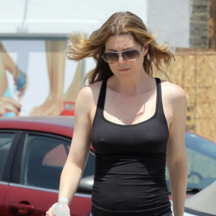 Ellen Pompeo Works Out, Displays Baby Bump