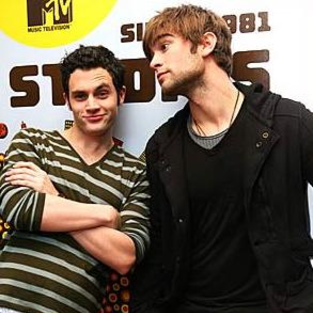 Penn Badgley and Chace Crawford Visit TRL