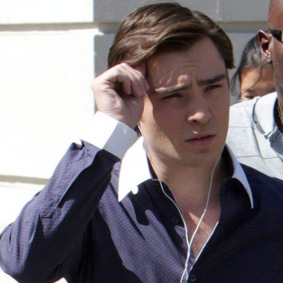 Ed Westwick on the Set