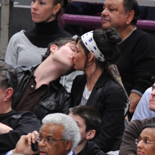 Ed Westwick and Jessica Szohr Kiss at Knicks Game