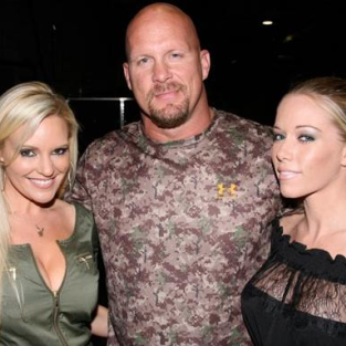 Bridget Marquardt and Kendra Wilkinson Pose with Steve Austin