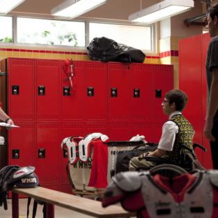 Beiste in the locker room