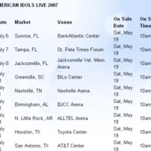 American Idol Tour Dates Announced
