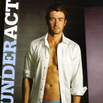 Robert BUckley in Blue Briefs