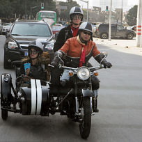 Brent and Caite Ride in the Motorcycle
