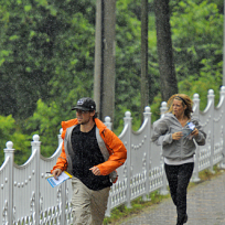 Jill and Thomas Run in the Rain