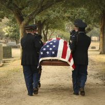 Flag draped casket